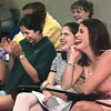 05/13/98--Students laugh at SFA Professor of Communications Miles McCall's humorous lecture at Tatum HS Wednesday. (r-l) Spring Hill junior Lainey Reist, Spring Hill freshman Katie Tehan and Tatum senior Lucy Gonzalez. Matula photo.