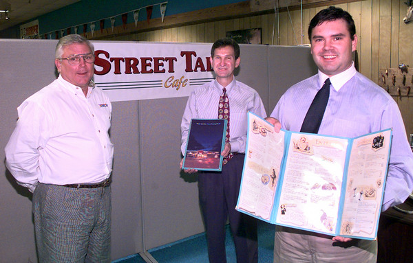 Date:   11/2/98----Stan Swanson, left, Henry Leonard,m center, and Curtis Swanson, right, with Street Talk Cafe. Kevin green