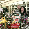 11/30/98---Owners Kathi and Mike Holbert stand by a display inside Louis Morgan drug store. bahram mark sobhani