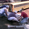 Date:   10/22/98---Hallsville High School tenth graders Left to right---Alex Williams, Ricky McVay, and Steven Williamson, work on the gazebo at Hallsville park Thursdya afternoon as part of a school project. Kevin green