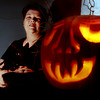 10/14/98---Foster Middle School art teacher Kathy Trenolone says that for details in carving a pumpkin, it is best to use small, flexible blades, such as those found in pumpkin carving kits. bahram mark sobhani
