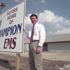9/03/98---Champion EMS executive director William H. Craig stands outside the future communication center for the medical service. The new location is on Loop 281 between Bill Owens Pkwy. and Gilmer Rd. bahram mark sobhani