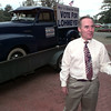 9/10/98---U.S. Congress, district four candidate Jim Lohmeyer speaks while standing next to his campaign truck, a 1951 Chevrolet to illustrate how long ago his opponent entered politics. bahram mark sobhani
