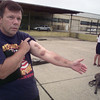 9/16/98---Police dog training instructor Guy Powell shows the week-old bruises left on his arm after training in full body gear. Powell said a K-9's bite can be up to 600 pounnds of pressure. bahram mark sobhani