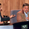 Date:   9/17/98---Gregg County Com. Darryl Primo, left, answers a question from Gregg County Judge Mickey D. Smith, right, on Primo's proposal to lower the tax rate by two cents during a public hearing Thursday evening at teh Gregg County Courthouse in Longview. Kevin green