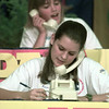 9/07/98---Ann Shafer, front, and Kirsten Welge, both of the Anchor Club at Longview High School, take call-in donations Monday at the local MDA Telethon held at Longview Mall. bahram mark sobhani