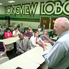 Date:   9/21/98----Dr Bill Thompson speaks to a group gathered Monday evening at Longview High School to get input on what the community wants in a superintendent. Kevin green