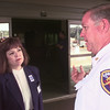 8/18/99----GSMC VP of development Jeanette Conway, left, listens to LFD asst. fire chief Bill Parrymore, right, outside the entrance way to the medical plaza after a power failure that left the building dark as you can see behind them Wednesday afternoon in LGV. Kevin Green