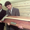 8/17/99---Lt. Governor Rick Perry accepts a Golden Axe presented to him Tuesday at Payless Cashways in Longview  by Tony Bennett, left, president of the Council of Texas Forest Products Manufacturers. Perry was honored by the council and the Texas Forestry Association for his efforts in passing legislation providing incentives for tree farmers. bahram mark sobhani