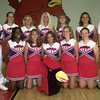 8/27/99---Sabine High School cheerleaders left to right---Front row---Courtney Johnson, SR., Autria Godfrey,SOPH., Mascot Shelly Toole, SR., Kimberly Thompson, SOPH., and Jacci Clarke,SOPH., back row---Dustin Odom, JR., Halie Miller, SR., Chrishell Barber, SR Head Cheerleader, Stefanie Hodges, SOPH., Nikke Pond, JR., and manager David Dover, SOPH. Kevin green