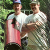8/9/99---Dan, left, and Dean Bradshaw stand with their telecopes in Dan's back yard. bahram mark sobhani