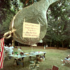 """8/03/99---A giant whistle hangs from a tree as members fo the Lance Community Crime Watch gather to """"Blow the Whistle on Crimes and Drugs"""" during National Night Out Tuesday. bahram mark sobhani"""