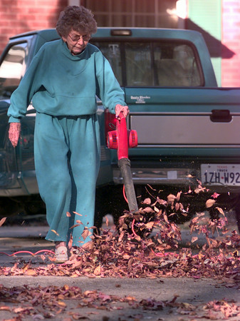 12-6-99---Rachel Gann, blows leaves out of her driveway in the 200 BLk. of Oxford LN. Monday afternoon in Longview. Sergio Barron