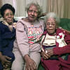 2/3/99---Sleetie King, left, Eva Lee Jackson, center, and Mary L. Randall Sleetie's mother, on right, all Northcutt Heights residents. Kevin green