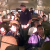 2/5/99---LPD officer and LPOA member Jacky Hiles gives last minute instructions to a bus laod of kids as they depart to Shreveport Friday evening in Longview. Kevin green