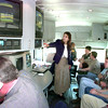 2/2/99---CSPAN's Monica Higuera, center, an affilate relations rep for CSPAN, shows a group of students at LHS the inside of the CSPAN school bus Tuesay afternoon at LHS cmapus in Longview.John Casey