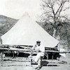 2/3/99--- An old photo with an unidentified man of the original tent site of the Northcutt Heights Baptist Church. Copy of old photo Kevin green