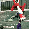 2/1/99---A LeTourneau students gets an eyefull of what seems to be a helicopter crash on the universtiy campus Monday. The display was made of parts borrowed from the ATP building on campus and was used to promote the Intersociety open house. bahram mark sobhani