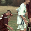 Date:   1/22/99---Longview's Ryan Nicholson (13) enjoys the goal he scored against Hallsville's Cody Holloway (20) in the second half of their game Friday at the East Texas Invitational. bahram mark sobhani