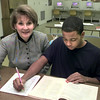 1/27/99---Debbie Jackson GEO cordinator at PTHS with one of  her students Josh Freeman, a sixteen year old, at PTHS in Longview. Kevin green