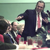 1/12/99---Dallas lawyer James Karger looks back to the head table as he delivers the keynote address at the Longview Partnership's annual banquet Tuesday night at the Maude Cobb Convention and Activity Center. bahram mark sobhani