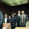 1/1/99---Incumbents officials elected last November are sworn in Friday morning by District Judge Alvin Khoury at the Gregg County Courthouse. From left are; Ruby Cooper, district clerk; Laurie Woloszyn, county clerk; Arthur Fort, Pct. 2 JP; B.H. Jameson, Pct. 1JP and Sam Lawson, Pct. 4 JP. bahram mark sobhani