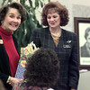 Date:   1/26/99---Marilyn Copeland smiles after receiving a special gift from the Longview Zonta Club Tuesday. Copeland gave a talk and slideshow to local Zonta members about Amelia Earhart. bahram mark sobhani