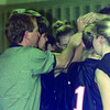 01/15/99---Gladewater Lady Bears Coach Butch Clay joins his team in a yell during halftime before returning to the court for another win.  Jessica Williamson