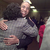 1/27/99---Newly elected LISD Superintendent Arthur Culver receives a hug from Longview resident Camille Creal, who attended high school in Michingan with Culver. Culver was approved Tuesday evening by trustees to be the district's new superintendent. bahram mark sobhani