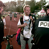6-27-99 Skydiver Lloyd Lee center, explains some finer points of skydiving to LPD officers R.P. Adams left,and M.W.Harrod right, at the In God WE Trust patriotic rally at Lobo Stadium  Obie LeBlanc