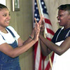 7/13/99--Terrell Easley,15, left, and Brittany Bell,13, right, act during the gospel play practice. Kevin green