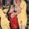 7/16/99---Longview Heat's Cara Giles (22), center, is stripped of the ball by No Limit's Jamie Nagle in the second half of their game Friday in the SSBA Championships at Union Grove High School.  bahram mark sobhani