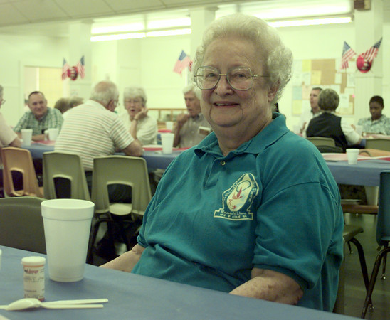 7/1/99-Minnie Dorman talks in support of President Clinton's new proposal for Medicare Thursday afternoon at the Senior Citizen Recreation Center in Longview.  Jessica Williamson