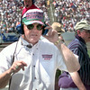 Joe Gibbs keeps and eye out for his cars at TMS in Ft. Worth. Kevin green