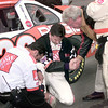Tony Stewart in center has a moment of prayer prior to the Primestar 500 at TMS in Ft. Worth. Kevin green
