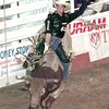 6/10/99---Mike White of Lake Charles La. rides Chili Dog duirng rodeo action Thursday night in Gladewater. Kevin green