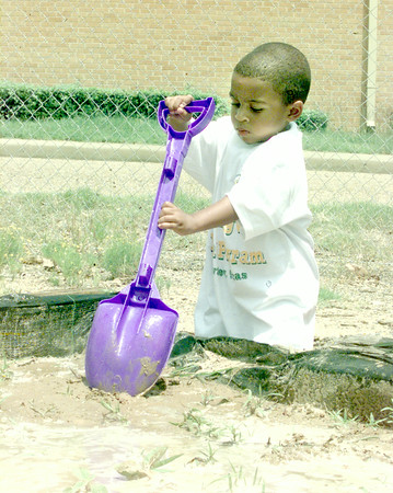 6/9/99-Daylon Powell, age 2, son of Anthony Powell, helps weed and plant seeds at the Susie Morris Community Garden behind the Sepcial Health Resources of East Texas office in Longview Wednesday afternoon. This is one of the activities children participate in as part of the South Longview Youth Program sponsored by SHRET.  Jessica Williamson