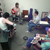 6/19/99---Some dude (JoLee knows his name), top, left of center, conducts a jazz guitar workshop Saturday at the Jefferson Jazz Festival. bahram mark sobhani