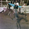 6/10/99---Scott Johnston of Deleon Texas rides Doc Holiday during the saddle bronc section of the Gladewater Round-Up Rodeo Thursday night in Gladewater. Kevin green