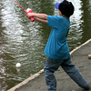 6/25/99-Antonio Barron, 6, son of Alfredo Barron of White Oak, makes a cast while fishing in the pond at Teague Park Friday afternoon in Longview.  Jessica Williamson
