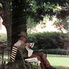 5/27/99---A man identifying himself only as Mr. Clanton rests with his daily newspaper under the shade of a large tree on the Gregg County Courthouse lawn Thursday. Clanton said he was passing through town on his way to Dallas. bahram mark sobhani