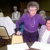 5/4/99--Jeanell Speights, left, and Dot Hixson, right, visit during the Young at Heart meeting Tuesday morning at Mobberly Baptist Church in Longivew. Kevin green