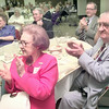 5/26/99--Jennie Lou and James Henderson, of Longview, one of three couples married sixty-five years applaud during a 50 + wedding anniversary celebration Thursday afternoon at First United Methodist Church in Longview. Kevin green