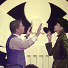 """5/15/99---Axel Magee (Jeff Milstein) and Colonel Krojack (Melanie Murphy) carry on a heated dicussion during the first scene of the Longview Community Theatre's production of """"Don't Drink the Water."""" bahram mark sobhani"""