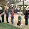5/21/99---LHS students join in a circle and pray Friday morning before the start of school on the Longview campus. Kevin green