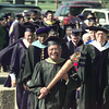 5/8/99---Chief Marshal Robert Thomas leads the commencement processional across the Jarvis Christian College campus to graduation events Saturday in Hawkins. bahram mark sobhani