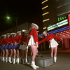 11/22/99---Kilgore College Rangerettes pull the switch in front of the Crim Theatre to light up downtown Kilgore during the Derrick Lighting Ceremony. bahram mark sobhani