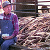 11-13-99---Charlie Vaughn with the Rusk County Syrup Making Team takes a break from syrup making. The cane in the picture has been crushed to retrieve the juice for the syrup making. Kevin Green