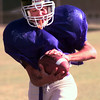 10-5-99---Pine Tree's Chris Sutton catches a pass durign practice on Tuesday in lOngview. Kevin Green