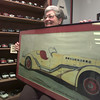 10/20/99---Sandy Fenner holds a drawing of her father's car design, a 1935 Duesenberg SJ Speedster named the Mormon Meteor. bahram mark sobhani